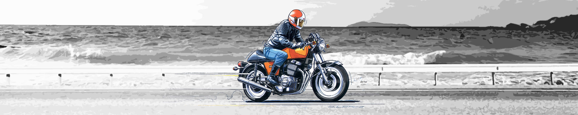 Illustration moto ancienne - Guillaume Lopez